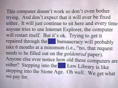 Passive Aggressive library note