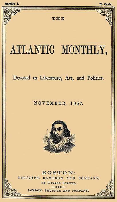 The Atlantic Magazine's first cover. Before they had celebrities and cartoonists.