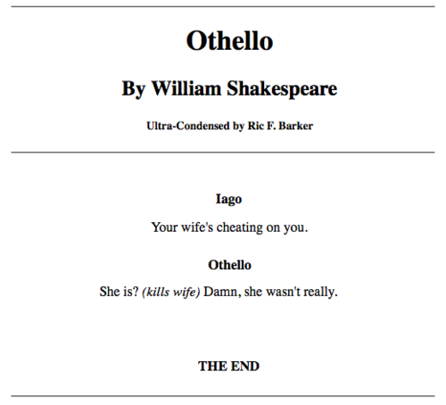 The Condensed Othello